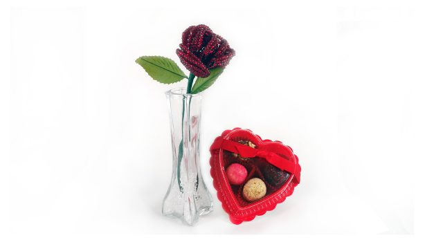 Valentine's Truffle and Beaded Rose Bundle